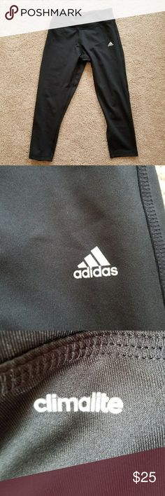 Womens Small Adidas Work Out Capris 2 pairs Excellent condition  Worn twice No rips, holes or stains Picture 4 shows a pouch inside the waistband on the solid black pair. (It's not a hole)  Bundle and save! Adidas Pants