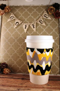 Running Paint Coffee Cozy - Black, Gray, Yellow, White Coffee Cozy - Coffee Cozy - Fabric Coffee Cozy - Tea Cozy by SewLoveToSew on Etsy