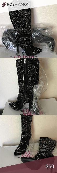 Ladies rhinestone/ suede boots Ladies black suede boots with silver rhinestones, worn one time. Cute with a skirt or skinny jeans. 3 inch heel, great condition Olivia Moon Shoes Heeled Boots