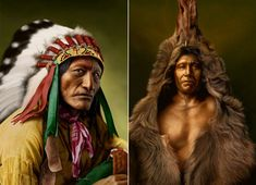 Portraits of native American's created by Wendelin via Cretique