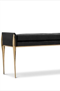 Stiletto is a button tufted bench upholstered in velvet. It features brass stiletto legs that are inspired by high heels, providing a sharp and sleek look to your bathroom. It has a rectangular cushioned pad accented by little sloping arms. Feminine and seductive due to its delicate lines, it's a desirable piece for any modern luxury bathroom.