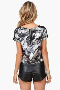 Cloud Satin Top in Grey , Black, and White Brushstrokes