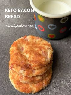 Keto bacon bread is gluten free and keto breakfast with bacon, almond flour, coconut flour and cheddar cheese. Crispy with yogurt or sour cream dip. Keto Diet Breakfast, Sweet Breakfast, Almond Recipes, Low Carb Recipes, Bread Recipes, Bacon Recipes, Diet Recipes, Recipies, Griddle Recipes