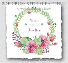 Watercolor Flower Wreath PDF cross stitch pattern / instant download; wedding cross stitch; pattern finish picture available