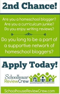 Are you a homeschool blogger? Are you a curriculum junkie? Do you enjoy writing reviews? Do you long to be a part of a network of supportive homeschool bloggers? Then YOU might be perfect for the Crew! The Schoolhouse Review Crew is taking applications NOW!