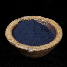 Natural Indigo - from cultivated plants of Indigofera Tinctoria. Indigo grows all over the world but flourishes best in hot, sunny, humid areas. Our indigo comes from a farm in South India and is very strong and reduces beautifully in an indigo vat.