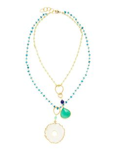 Apatite & Green Garnet Double Strand Pendant Necklace by Alanna Bess Jewelry on Gilt.com