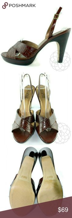 """NEW Franco Sarto Brown Croc-Embossed Sling Heels Stunning Franco Sarto Brown Croc-Embossed Sling Back Heels  ▪ Genuine Leather  ▪ Heel Height: 4.5"""" inches  ▪ Platform: 7/8"""" inch  ⚠ All measurements are approximate  💥 Brand New without Tag or Box   ✋ All Sales Final 