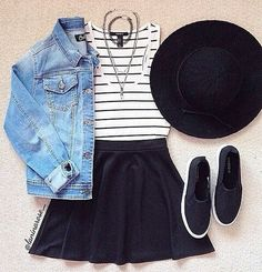 Black and White Striped Tank and Black Skirt with Denim Jacket and Black Shoes