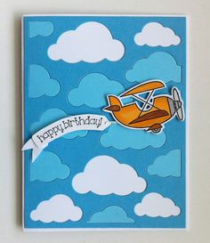 Card air plane aeroplane fly up in the sky, cloud clouds, Happy Birthday banner, TE Plane awesome stamp and die combo Taylored Expressions EPS72, MFT Cloud cover up Die-namics #mftstamps - JKE