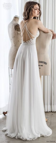 asaf dadush 2017 bridal sleeveless spaghetti strap halter sweetheart neckline heavily embellished bodice side slit romantic sexy soft a  line wedding dress cross strap back sweep train (03) bv