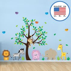 Animals FABRIC wall decals... not that cheap vinyl stuff. Non-toxic, eco-friendly, and Consumer Safety (CPSIA) Compliant. This cute set of owls on branches is sure to brighten up a nursery or kid's room. Original artwork by WallClipz. Made in the USA. #wallclipz #walldecals #walldecal #nurserydecor #madeinusa #kidsdecor #babystuff #babydecor #babywall #kidsroom #wallart #wallartdecor #nurseryroom #nurseryideas #wallsticker #wallstickers #animals #safari #lion #tiger