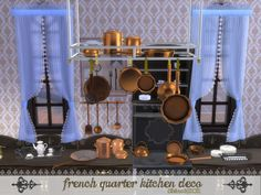 The Sims Resource: French Quarter - Kitchen Deco by ShinoKCR • Sims 4 Downloads