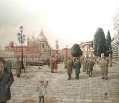FREDERICK HERRING SIGNED 1970 ORIGINAL OIL PAINTING DELLA SALUTE VENICE ITALY   #Realism