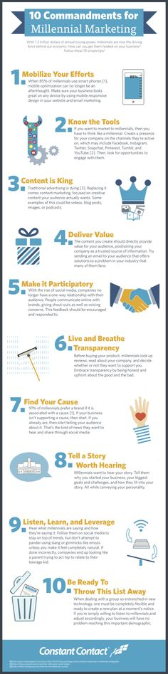 10 Commandments for Millennial Marketing   With 1.3 trillion dollars of annual buying power millennials are now the driving force behind our economy.  If you own your own business successfully reaching and getting a response from this demographic is probably easier than you think.  Check out the infographic below for the 10 commandments of millennial marketing followed by even more useful tips to reach this important demographic:  (Having trouble viewing the infographic? View it here!)  1…