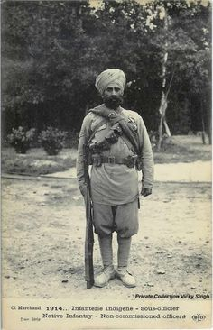 1914 French postcard showing a Sikh Havaldar posing for the photographer at Marseille, France, in the early days of the First World War. History Of India, World History, Indian Army, Native Indian, World War One, First World, Commonwealth, British Colonial, East Africa