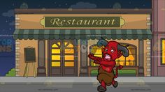 A Scared Red Devil Running Away At Outside A Fancy Restaurant:   A red devil with mustache and beard pointed ears fangs and gray horns coming out of his forehead red pointed tail lower limbs shaped like a calf covered in brown fur screams as he runs away in terror. Set in outside a restaurant during a starry night sky with pale orange walls beige bricks moss green awning and classic windows and doors silhouettes of people eating inside the restaurant are projected via the classy lighted…