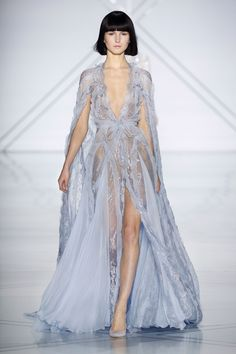 Periwinkle silk chiffon and Chantilly lace gown with a flowing cape and cascading ruffles | RALPH & RUSSO SPRING SUMMER 2017