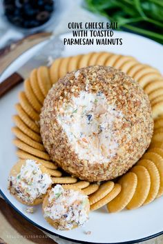 Olive Cheese Ball with Parmesan Toasted Walnuts This Olive Cheese Ball with Parmesan Toasted Walnuts is fun and festive appetizer for the holidays. With loads of cheeses and salty olives, it's a sure crowd-pleaser! Holiday Cheese Ball Recipe, Cheese Ball Recipes, Potato Recipes, Vegetable Recipes, Vegetarian Recipes, Dairy Recipes, Walnut Recipes, Bread Recipes, Holiday Party Appetizers