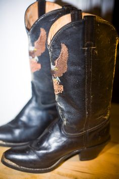 Vintage Harley Davidson Cowboy Boots Women's 7 1/2 by cleomantra