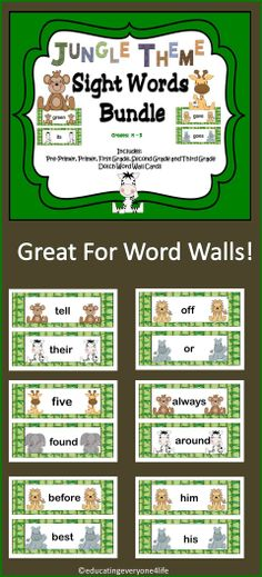 Sight Word Bundle:  Jungle Theme Word Wall Cards.   #Dolch #TpT