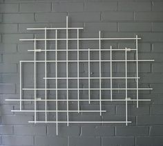 Square Steel Metal Art Sculpture Hand Welded Modern Grid Decor Decoration 3D Dimensional Large Wall Art in White Housewarming Gift Staging