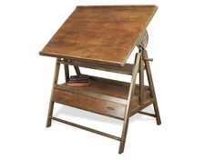 Draftsman's Industrial Loft Wood Iron Desk Table transitional-desks-and-hutches Industrial Cafe, Industrial Interiors, Vintage Industrial, Modern Industrial, Industrial Windows, Industrial Restaurant, Industrial Apartment, Industrial Bedroom, Industrial Living