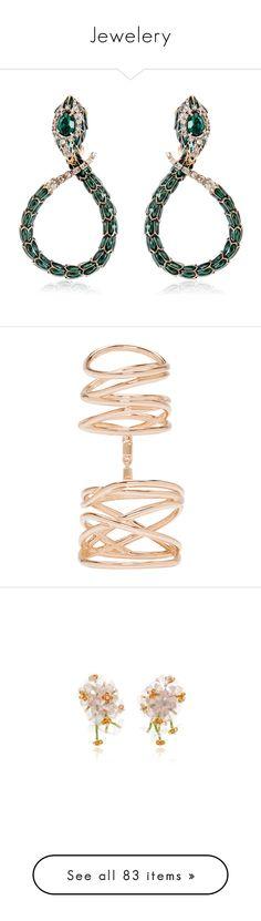"""Jewelery"" by venus-in-fleurs ❤ liked on Polyvore featuring jewelry, earrings, brinco, joias, earrings jewellery, roberto cavalli earrings, snake earrings, snake jewelry, swarovski crystal jewelry and rings"