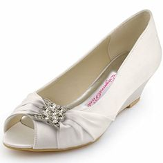 ElegantPark WP1403 Women Peep Toe Pumps Rhinestones Mid Heel Wedges Satin Wedding Bridal Shoes Ivory US 9 ** You can find out more details at the link of the image.