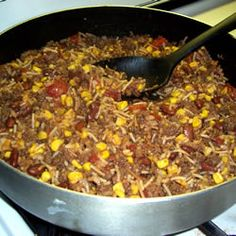 Mexican Venison Skillet Recipe-gonna double it, change the kidney beans to black, diced tomatoes, and add one can mexicorn. Serve on tostadas I think. Deer Recipes, Wild Game Recipes, Chili Recipes, Mexican Food Recipes, Deer Burger Recipes, Sausage Recipes, Venison Chili Recipe, Ground Venison Recipes, Gooseberry Patch Cookbooks