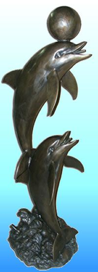 Dolphins With Ball Outdoor Garden Fountain/Sculpture In Bronze. Available  At AllSculptures.com