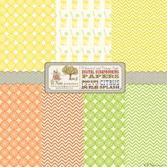 Free Printable Citrus Splash Digital Scrapbook Papers from B.Nute productions