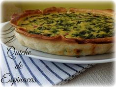Quiche de Espinacas - Masa quebrada Empanadas, Food And Drink, Meals, Breakfast, Quiches, Gastronomia, Shape, Vegetable Quiche, Empanada