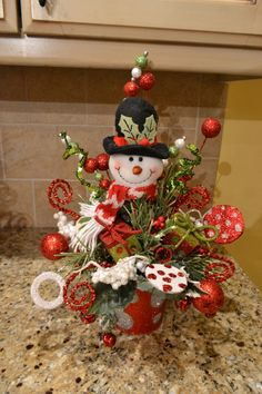 Whimsical Snowman Arrangement by kristenscreations on Etsy 12x 18