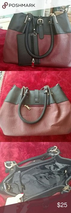 Brand new Black Rivet purse Beautiful condition, never used, maroon and black color Black Rivet Bags Shoulder Bags