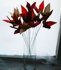Red and Gold Cranes Flying Origami Flower Bouquet - Origami Bouquet with handmade paper by NikkiCrossApplesauce on Etsy