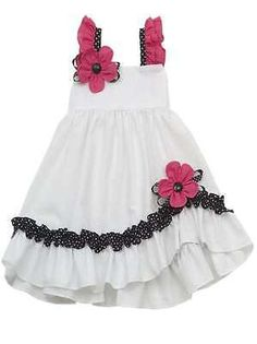 Rare Editions White/Fuchsia/Black Spring Summer Seersucker Easter Dress