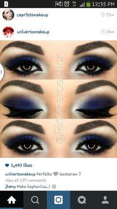 daek blue and white smokey eye