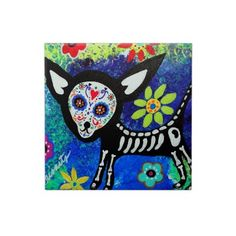 Chihuahua Day of the Dead Tiles by Prisarts