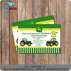 Green and Yellow John Deer Birthday Invite - John Deer - Green & Yellow Boy invite - printable Invite. This listing is for a x invitation (your choice of a printable file or printed and shipped) customized with your event details. Printable Invitations, Corporate Gifts, Birthday Party Invitations, Invite, Deer, Card Holder, Yellow, Printed, Rolodex