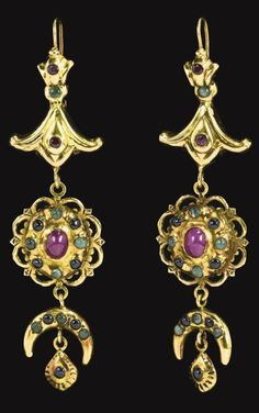 Morocco   Pair of gem-set gold earrings   18th century   Est. £20'000 - 30'000 together with the matching 'Lebba' necklace (Apr. '14)