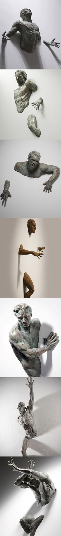 By Matteo Pugliese A great study of the figure in motion, amazing ceramic sculpture. I love that it is emerging from the surface. Instalation Art, Land Art, Art Plastique, Oeuvre D'art, Amazing Art, Awesome, Sculpting, Cool Art, Contemporary Art