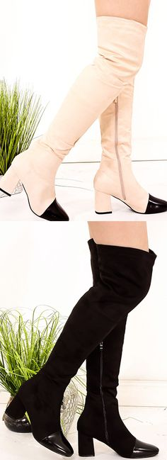 These chunky thigh high boots feature a side zipper, round toe, suede material, Great for any occasion, Heel measures about 3 inches, Boot measures about 25 inches.