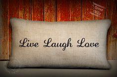 Burlap pillows  Live laugh love natural by LoveYouMoreBoutique, $33.00