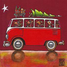 discount logo VWBUS - folded christmas art card with envelope Christmas Car, Christmas Images, Christmas Signs, Christmas Themes, Vintage Christmas, Christmas Crafts, Merry Christmas, Snoopy Christmas, Bus Art