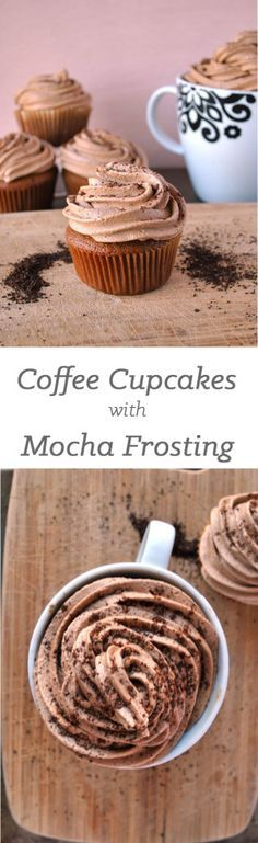 Coffee cupcakes with mocha frosting.