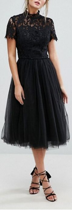 high neck lace tulle dress