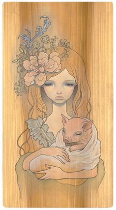 audrey kawasaki  Komoriuta  Oil and graphite on wood 11x21  'Mayoi Michi' @ Copro Nason Gallery  2008