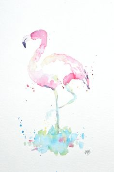 Watercolor Flamingo Painting Original Watercolor by MABArtStudio