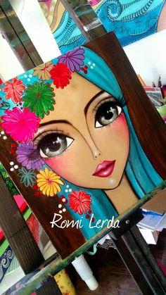 Romi Lerda Fabric Painting, Painting & Drawing, China Painting, Arte Pop, Arte Floral, Whimsical Art, Face Art, Diy Art, Art Drawings